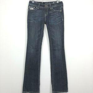 Miss Me Jeans Boot Rhinestone Flap Pockets JP5001